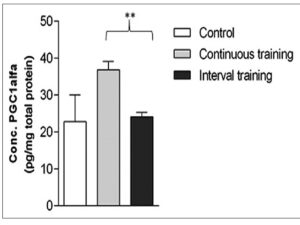 Proliferator‑activated receptor gamma coactivator‑1α level after 8 weeks of treatment. Data mean standard error, P < 0.01 between groups. A post hoc Games‑Howell test showed P < 0.01 between continuous training versus interval training