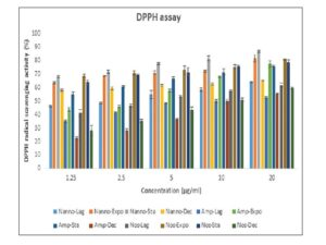 Antioxidant preliminary screening for Nannochloropsis sp., Amphora sp., and Nostoc sp. quantified at different growth phases