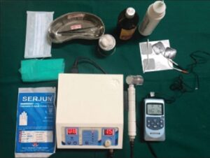 Armamentarium for the study including transcutaneous electrical nerve stimulation and therapeutic ultrasound