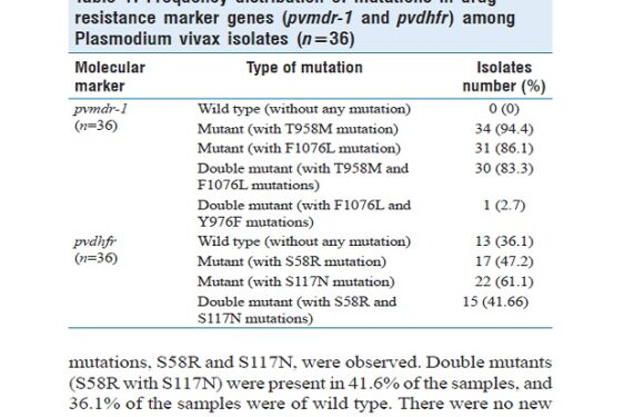 Single-nucleotide polymorphisms in genes associated with drug resistance of Plasmodium vivax in two regions of South Indi