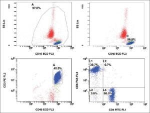 Flow cytometry image showing CD4 and CD8 positive T (CD3 positive) cells