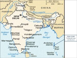 Map of India, showing the location of Andaman and Nicobar Islands.