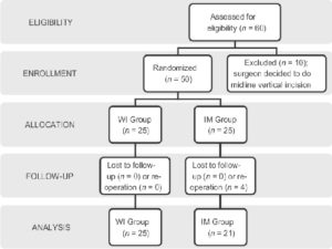 Flowchart of the recruitment procedure followed, where patients in the wound infiltration group received pethidine intrafascially